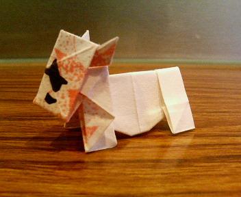 短い割り箸袋で牛