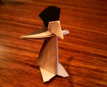 短い割り箸袋でペンギン