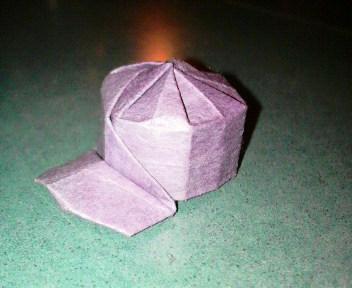 短い割り箸袋で作る野球帽