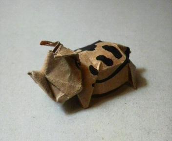 短い割り箸袋から折るブタ