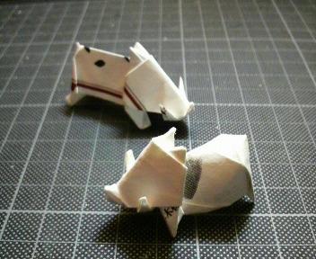 短い割り箸袋から折るイノシン