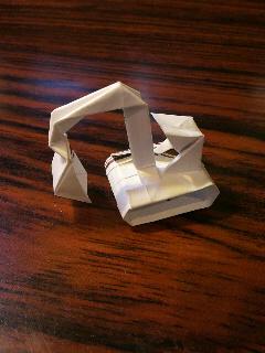 長い割り箸袋から折るショベルカー